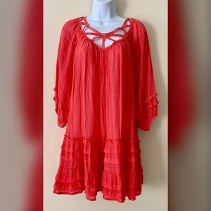 Umgee Coral Ruffle Midi Dress size medium